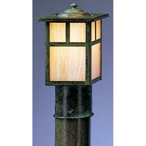 Mission Small Gold White Iridescent T-Bar Outdoor Post Mount