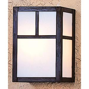 Mission Small White Opalescent T-Bar Flush Sconce