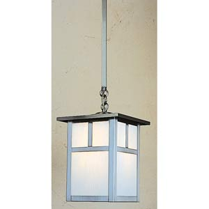 Mission Small White Opalescent T-Bar Outdoor Pendant