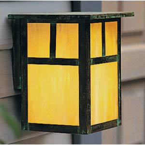 Mission Small Gold White Iridescent T-Bar Outdoor Wall Mount