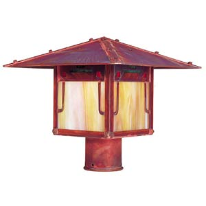 Pagoda Medium Raw Copper Outdoor Post Mount