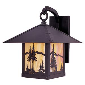Timber Ridge Gold White Iridescent Mountain Outdoor Sconce