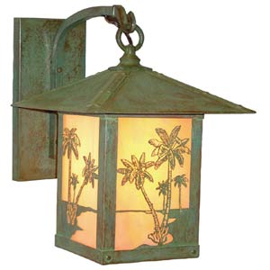 Timber Ridge Gold White Iridescent Palm Tree Outdoor Sconce
