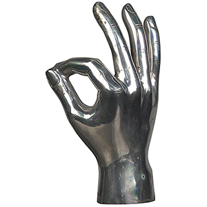 Silver OK Sign Figurine