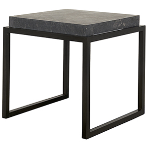 Black End Table with Black Marble Top