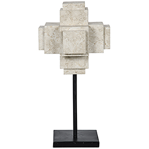 White Marble Cube On Stand Sculpture