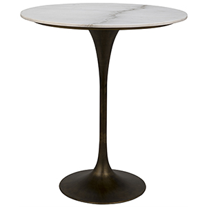 Laredo Aged Brass 36-Inch Bar Table with White Marble Top