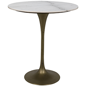 Laredo Antique Brass 36-Inch Bar Table with White Marble Top