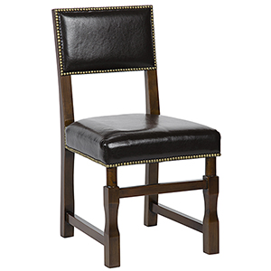 Abadon Distressed Brown Side Chair with Leather
