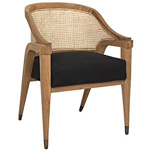 Chloe Teak and Black Cotton Chair
