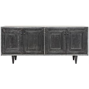Yves Plain Zinc and Wood Sideboard