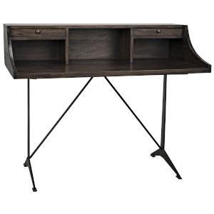 Croft Ebony Walnut and Black Metal 48-Inch Desk