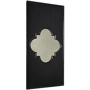 Hand Rubbed Black Good Luck Mirror with Gold Trim