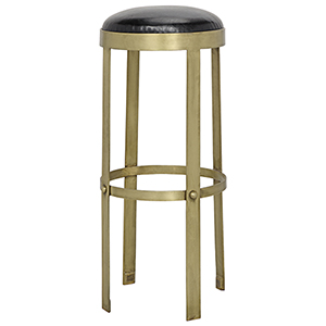 Prince Brass with Leather Bar Stool