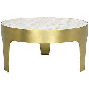 Antique Brass Cylinder Round Coffee Table