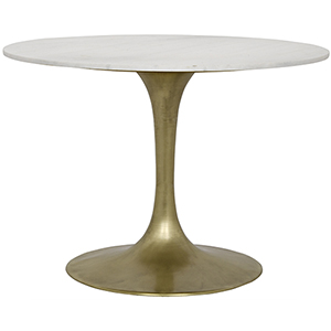 Laredo Antique Brass 40-Inch Table with White Marble Top