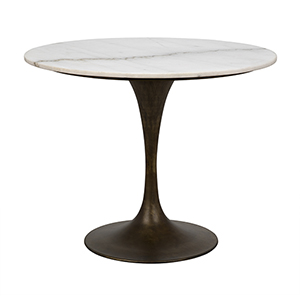 Laredo Aged Brass 36-Inch Table with White Marble Top