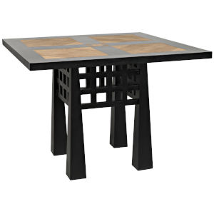 Marx Hand Rubbed Black and Teak 40-Inch Dining Table