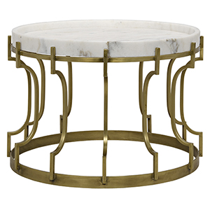 Corium Antique Brass, Metal and Quartz Side Table