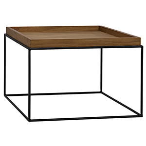 SL02 Metal Base Side Table with Gold Teak Top