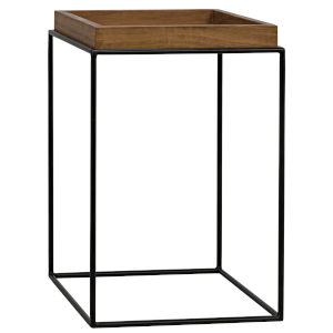 Sl03 Metal Base Side Table with Gold Teak Top