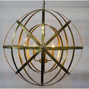 Alchemy Antique Brass Four-Light Chandelier