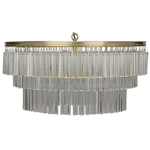 Oval Deco Antique Brass Four-Light Chandelier