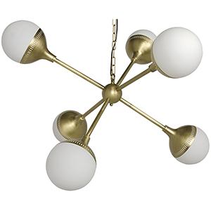 Zoe Sputnik Antique Brass Six-Light Chandelier