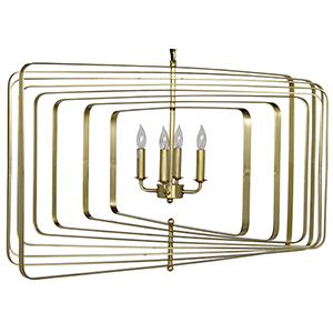 Large Dimaclema Antique Brass Four-Light Chandelier