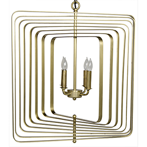 Small Dimaclema Antique Brass Four-Light Chandelier