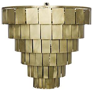 Shield Antique Brass Four-Light Chandelier