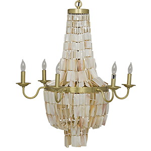 Bijou Antique Brass Six-Light Chandelier with Metal and Shells