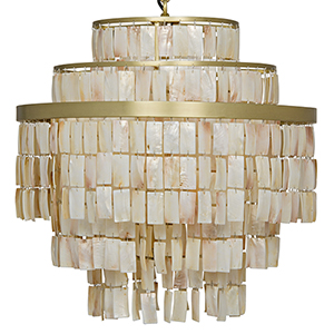 Winoda Antique Brass Six-Light Chandelier with Metal and Shells