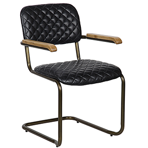 Vintage Black Leather 0045 Arm Chair