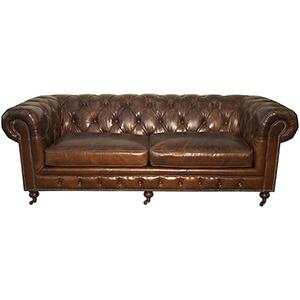 Vintage Leather Three-Seater Tufted Sofa