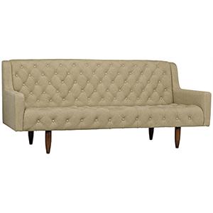 Reynolds Tufted Dark Walnut with Linen Sofa