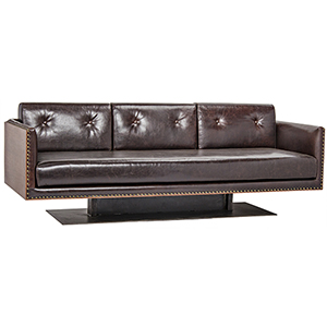 Sabah Dark Walnut Leather Sofa