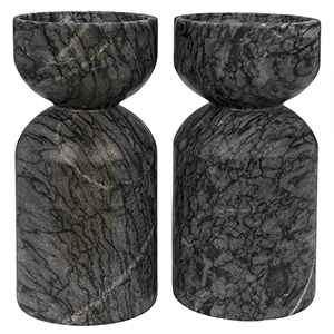 Elias Black Marble Decorative Candle Holder- Set of 2