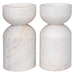 Elias White Marble Decorative Candle Holder- Set of 2