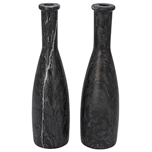 Moris Black Marble Decorative Candle Holder- Set of 2