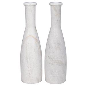 Moris White Marble Decorative Candle Holder- Set of 2