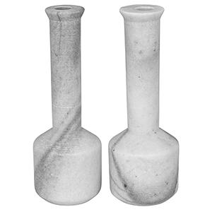 Markos White Marble Decorative Candle Holder- Set of 2