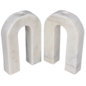 Corinth Small White Marble Decorative Candle Holder- Set of 2