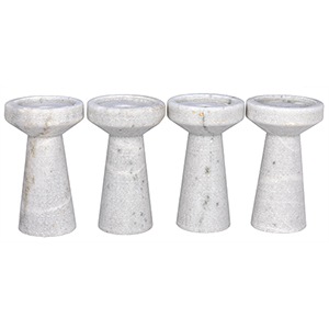 Aleka White Marble Decorative Candle Holder A- Set of 4