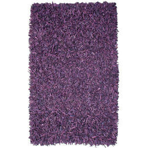 Pelle Purple Leather Rectangular: 2 Ft. 5 In. x 4 Ft. 2 In. Rug
