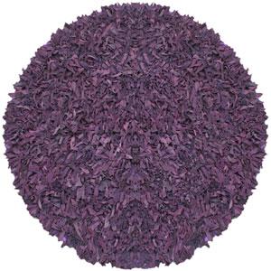Pelle Purple Leather Round: 4 Ft. Rug