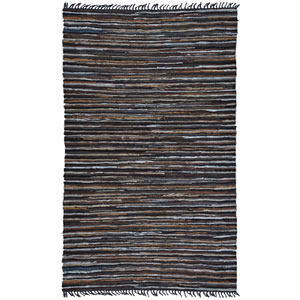 Matador Brown Striped Leather Flat Weave Rectangular: 2 Ft. 6 In. x 4 Ft. 2 In. Rug