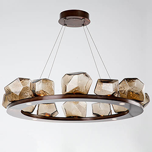 Gem Flat Bronze 37-Inch 16-Light LED Chandelier with Clear Blown Glass Gem