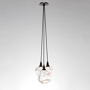 Gem Gunmetal 13-Inch Three-Light LED Pendant with Smoke Blown Glass Gem