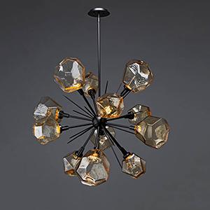 Gem Metallic Beige Silver 38-Inch 12-Light LED Chandelier with Bronze Blown Glass Gem